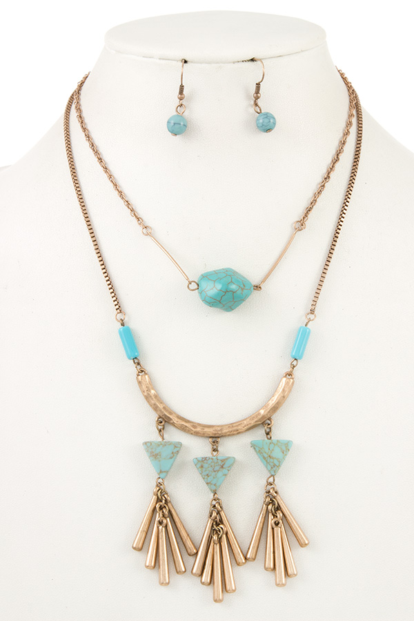 Tribal Double Layered Turquoise Accent Necklace Set