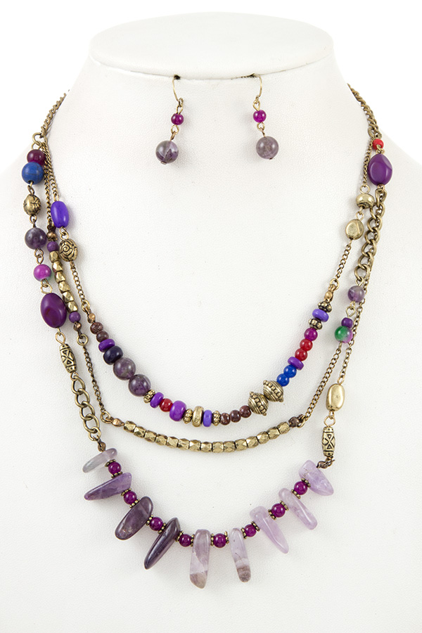 Multi Layered Stone Fringe Necklace Set