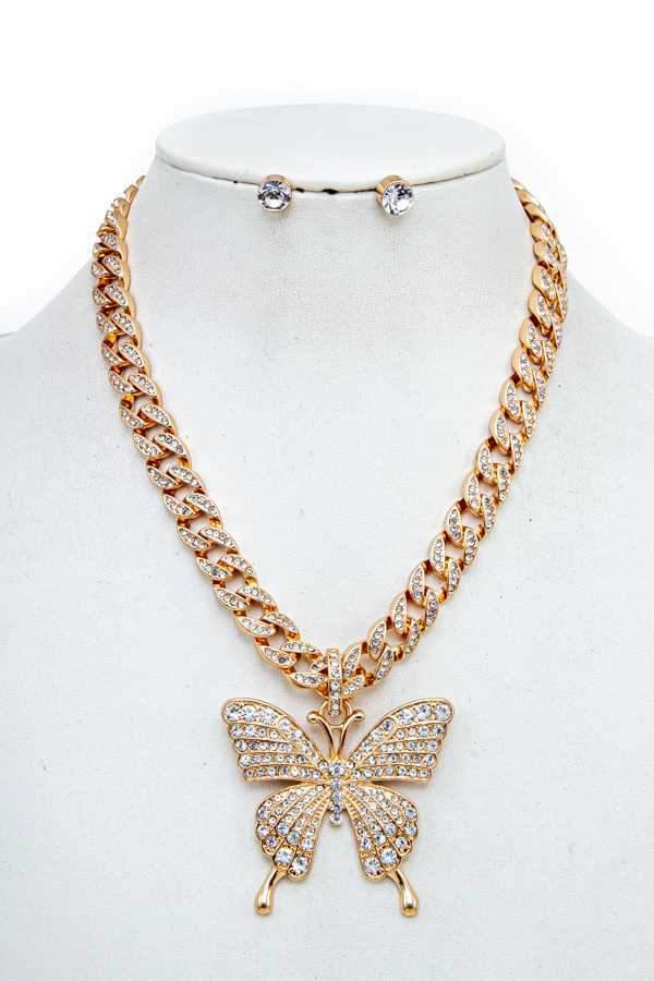 BUTTERFLY RHINESTONE PENDANT CHAIN NECKLACE