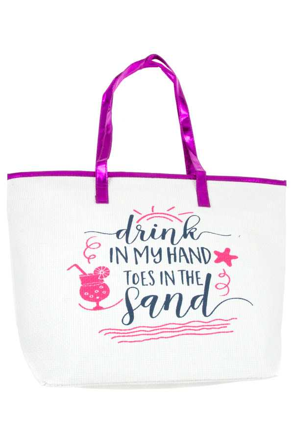 BEACH THEME PATENT ACCENT TOTE BAG