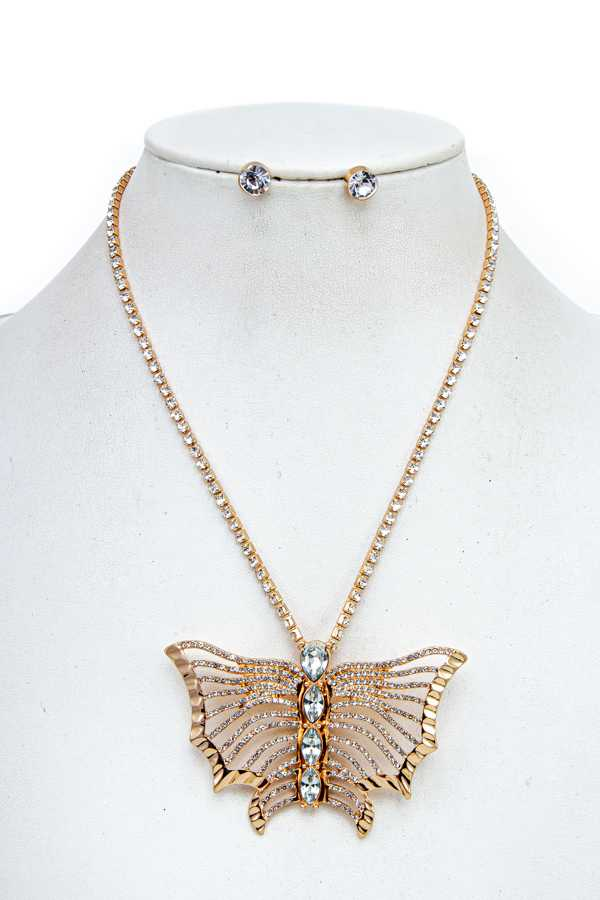 BUTTERFLY PENDANT RHINESTONE CRYSTAL NECKLACE