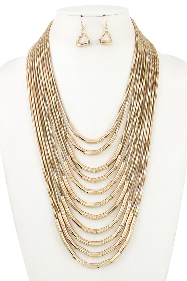Multi Layered Chain Necklace Set