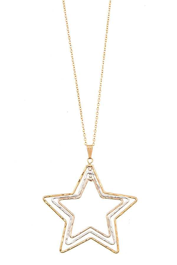 DOUBLE OUTLINED STAR PENDANT NECKLACE SET