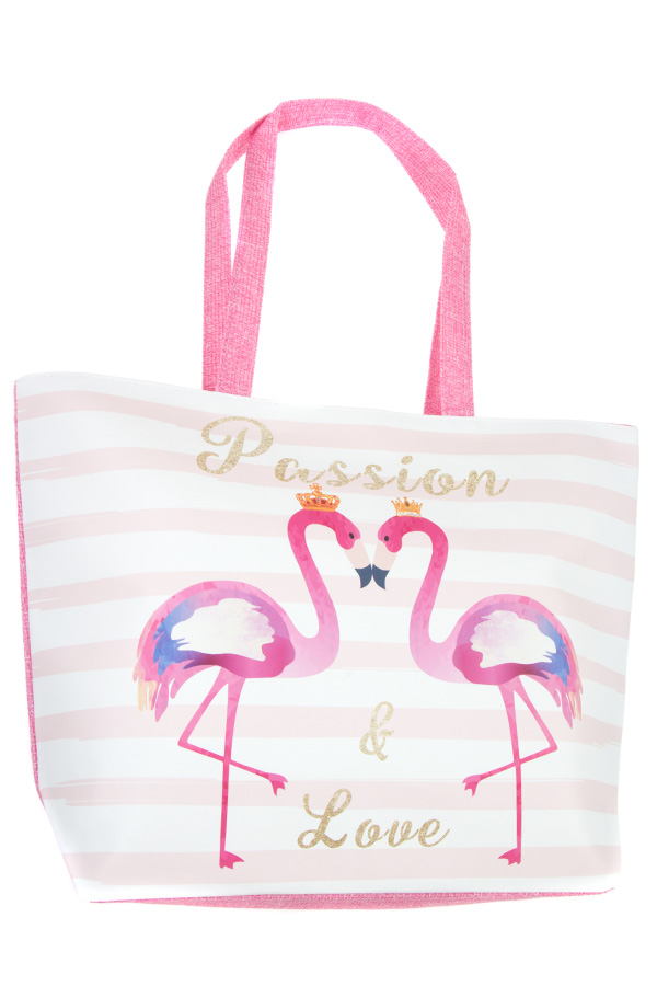 PASSION AND LOVE FLAMINGO STRIPE TOTE BAG