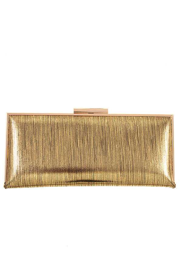 METALLIC LINE PATTERN CLUTCH BAG