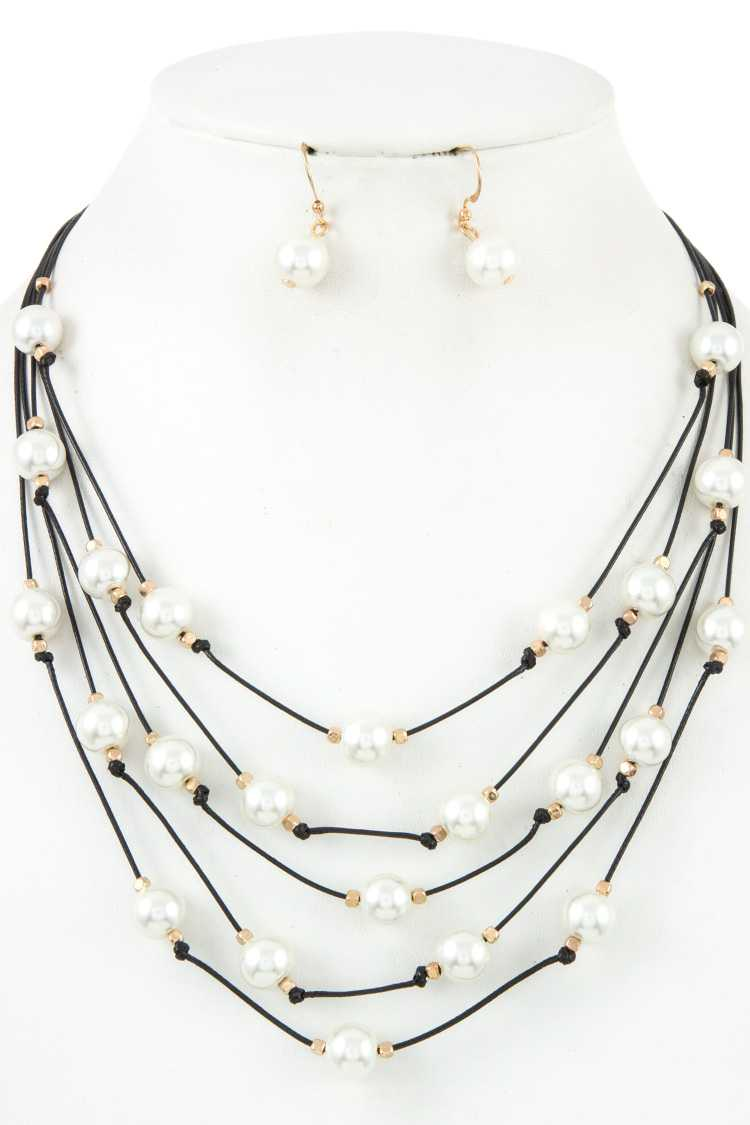 Multi Row Faux Pearl Accent Necklace Set