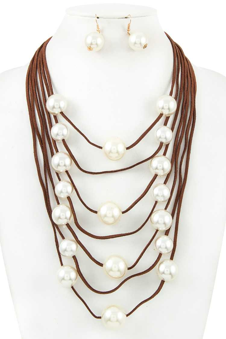 Multi Row Faux Pearl Accent Cord Necklace Set