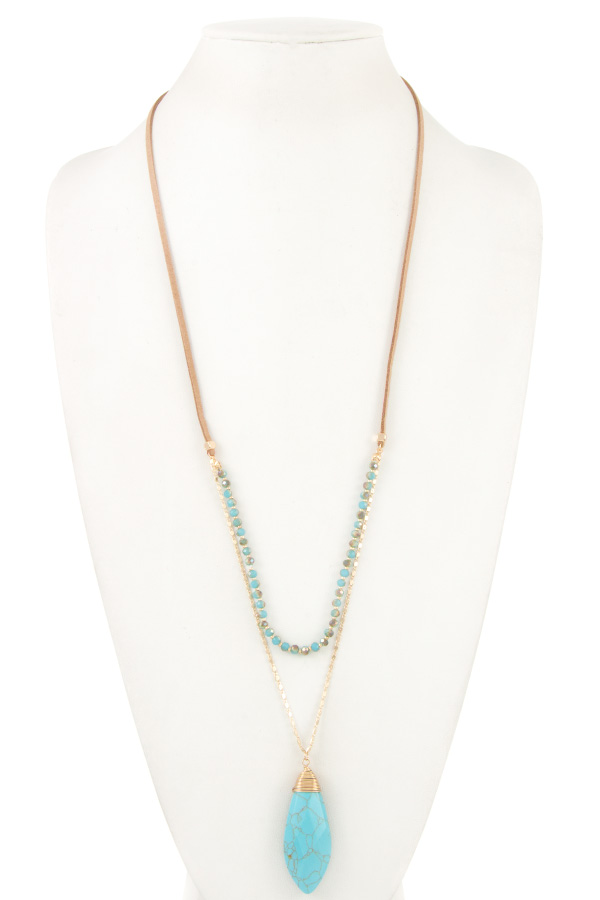 ELONGATED CORD AND CHAIN GEM PENDANT NECKLACE