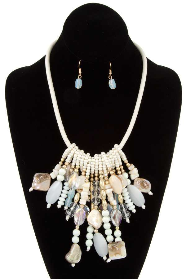MOTHER OF PEARL FRINGE BEAD BIB NECKLACE SET