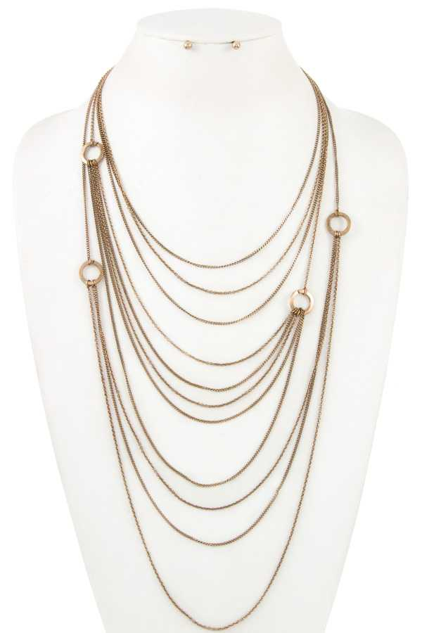 Ring Link Layered Chain Accent Necklace Set