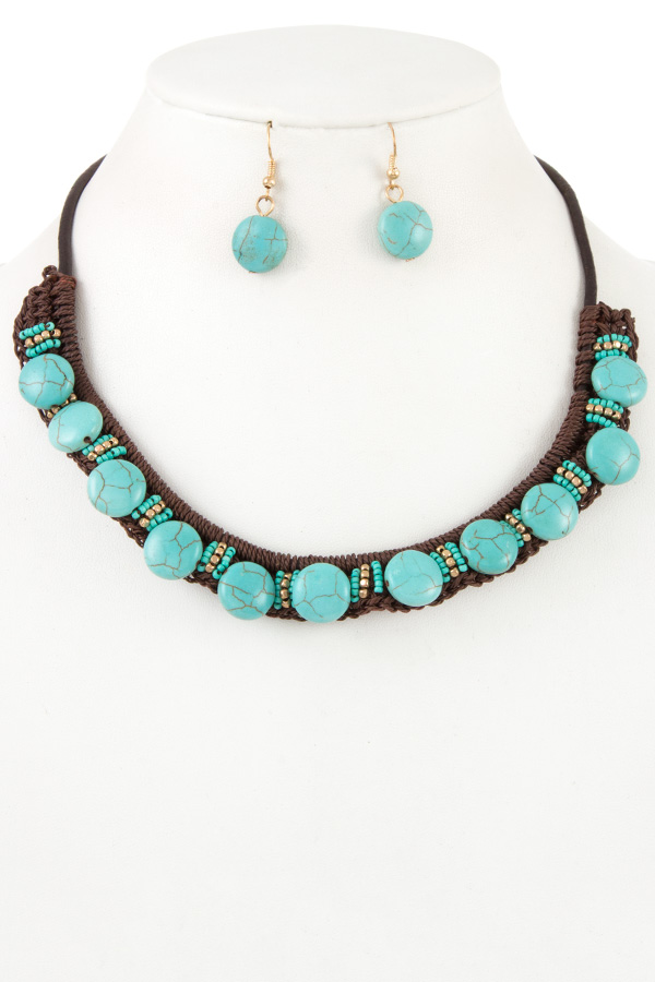 Gem Stone Bead Accent Cord Bib Necklace Set