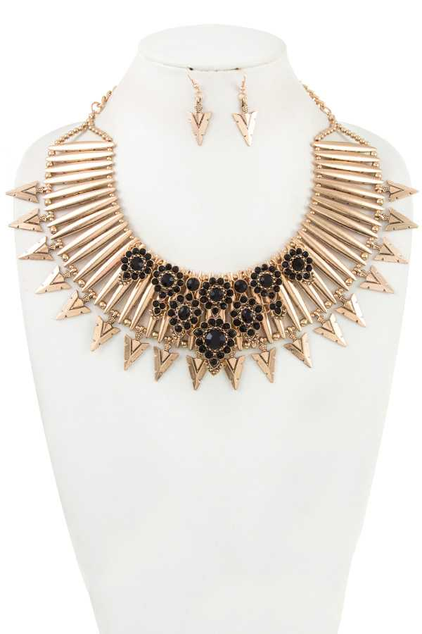 FLORAL RHINESTONE ACCENT METAL SPIKE STATEMENT NECKLACE SET