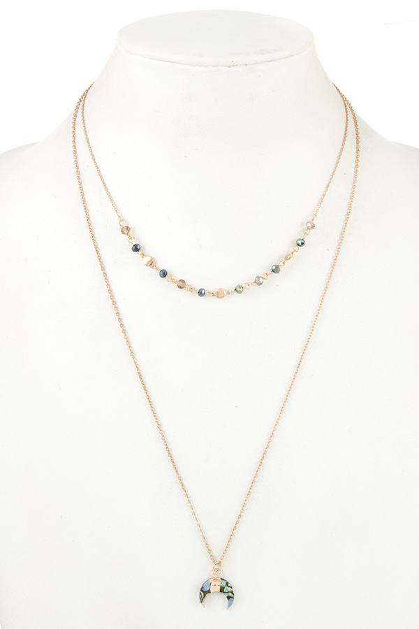CURVED PEDNANT DOUBLE ROW BEAD NECKLACE