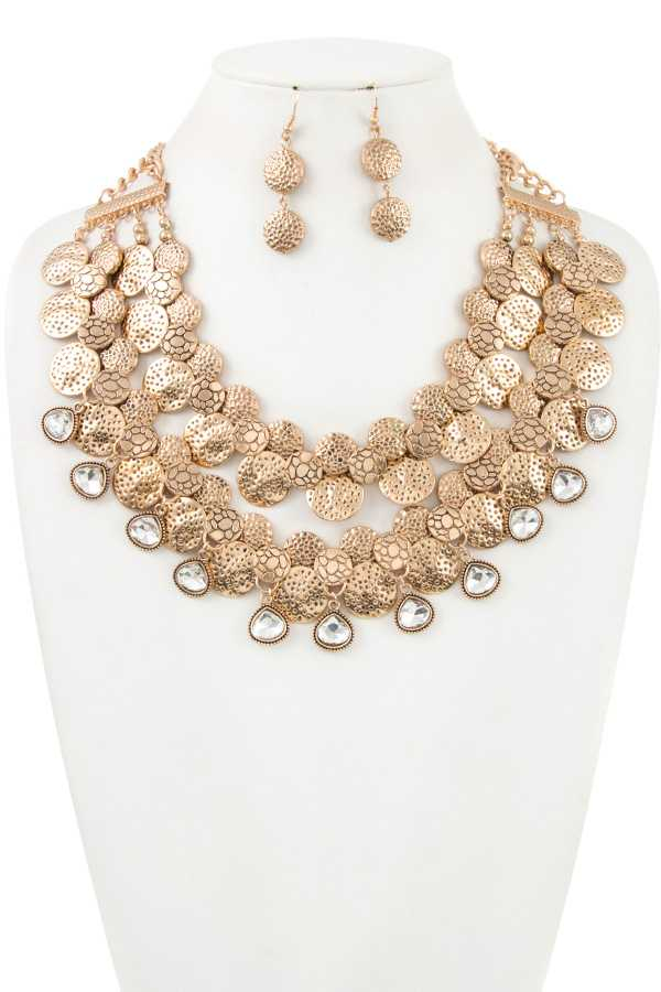 CHUNKY ETCHED DISK BOHO CHIC STATEMENT NECKLACE SET