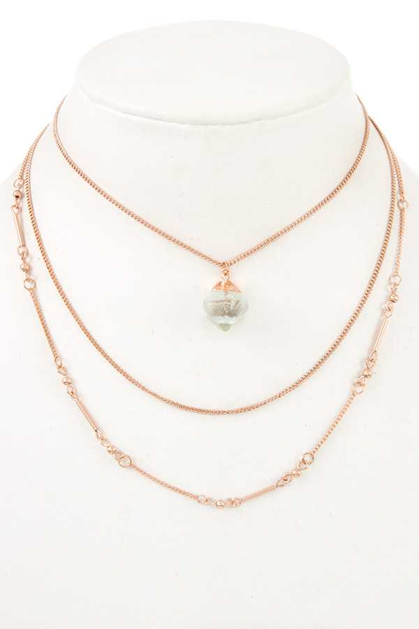 MULTI CHAIN FAUX CRYSTAL PENDANT NECKLACE