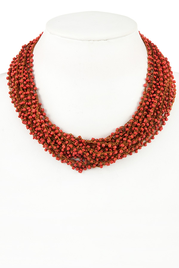 MULTI STRAND SEED BEAD COLLAR NECKLACE