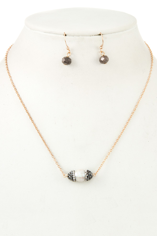 FRESHWATER PEARL GEM CAP PENDANT NECKLACE SET