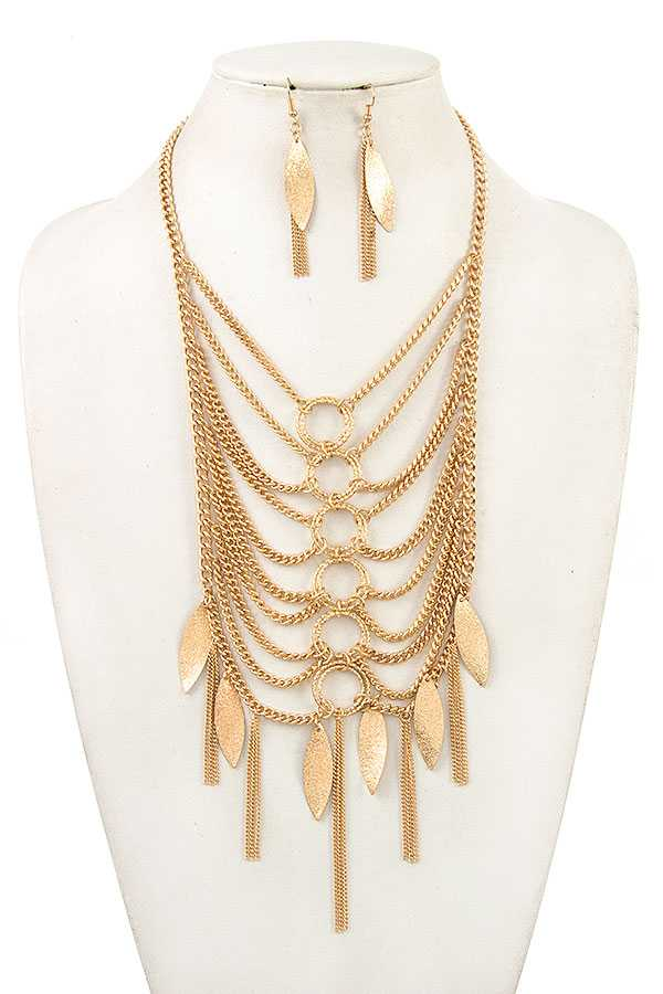 DRAPPED CHAIN METAL DANGLE BIB NECKLACE SET