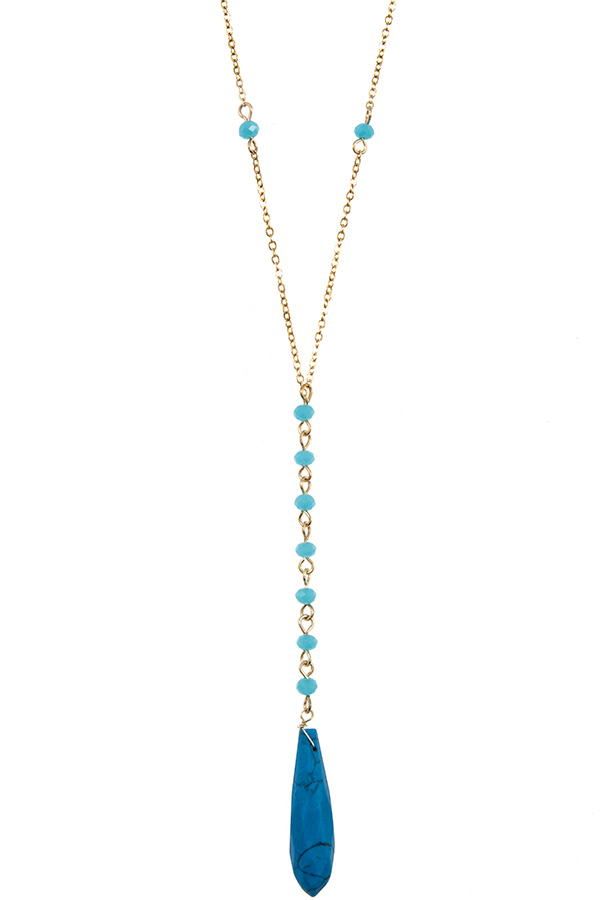 Faceted Drop Gem Pendant Bead Station Chain Long Necklace