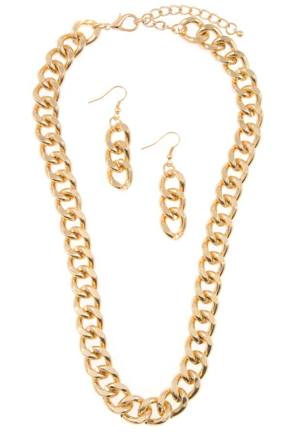FLAT EDGE CHAIN NECKLACE SET