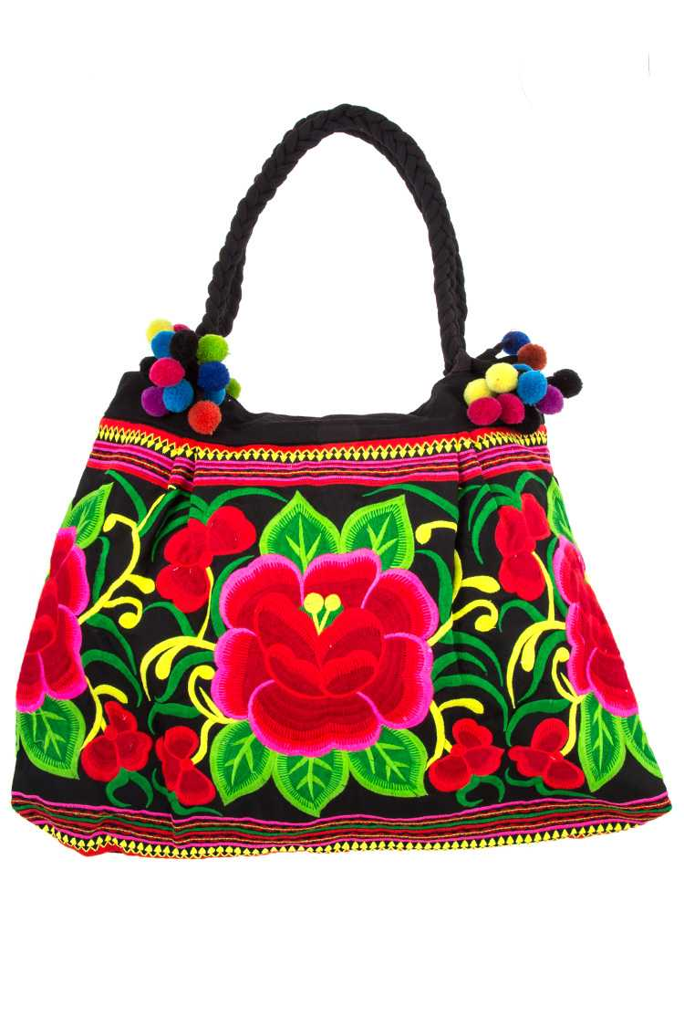 Ethnic Floral Embroidered Pom Pom Accent Bag
