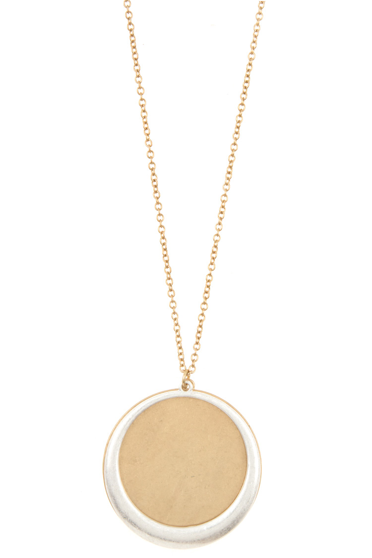 Elongated Double Disk Pendant Necklace