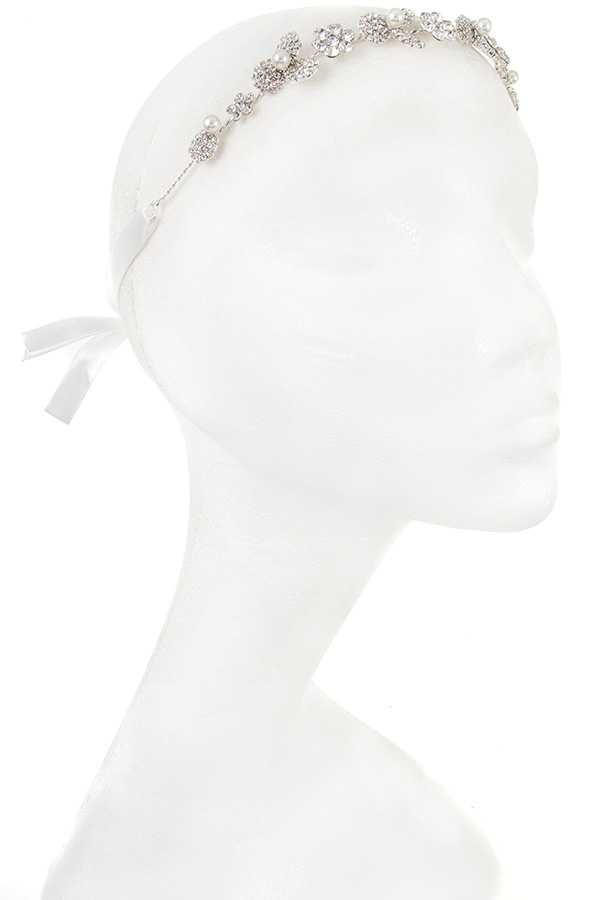 Rhinestone and Pearl Accent Detailed Head Accessory
