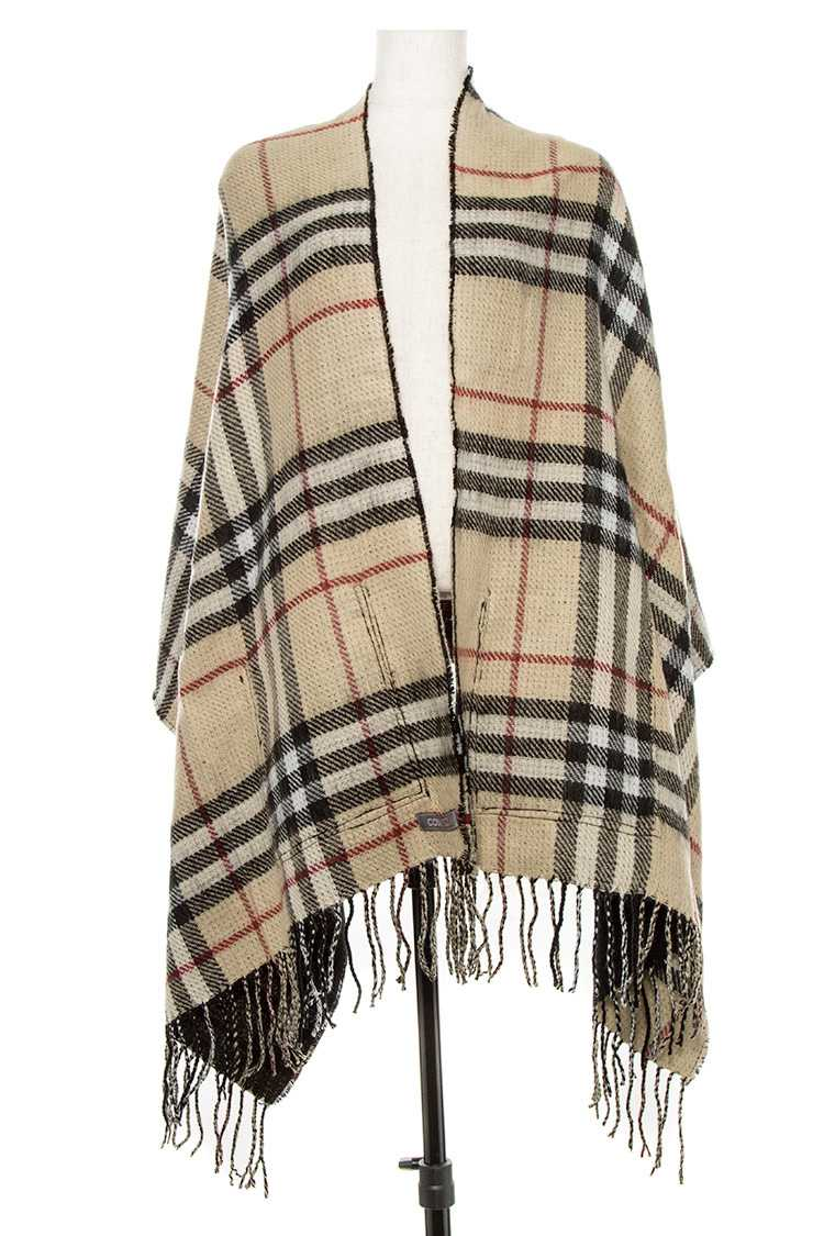Plaid Pattern Inner Pocket Wrap With Fringe