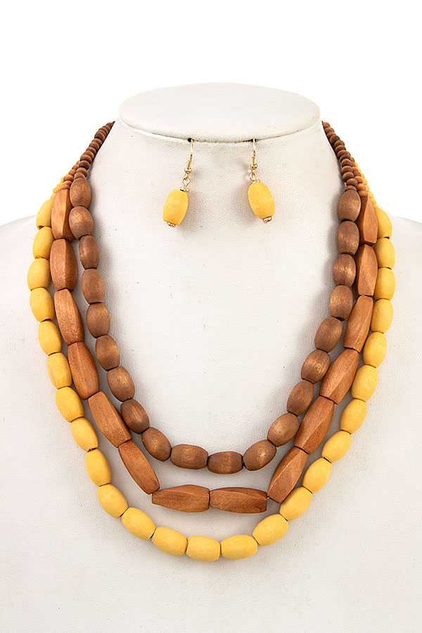 MULTI COLOR WOOD BEAD BIB NECKLACE SET