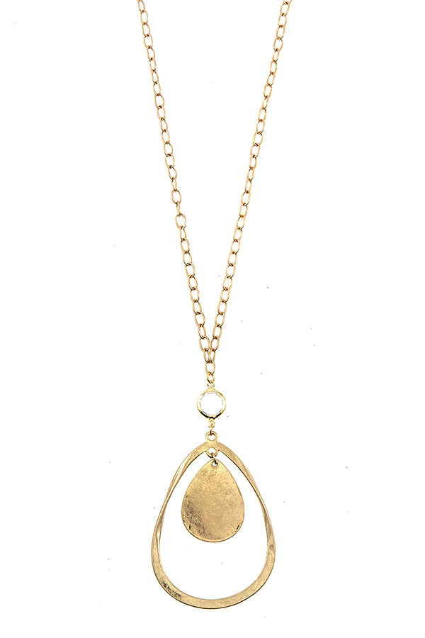 HAMMERED TEARDROP ELONGATED NECKLACE