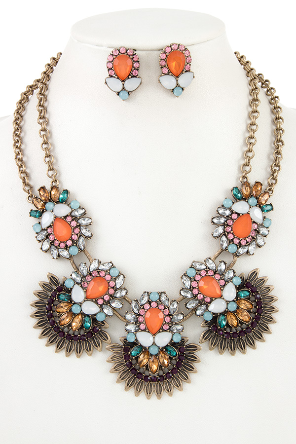 Floral Crystal Bead Leaf Spike Double Chain Necklace Set