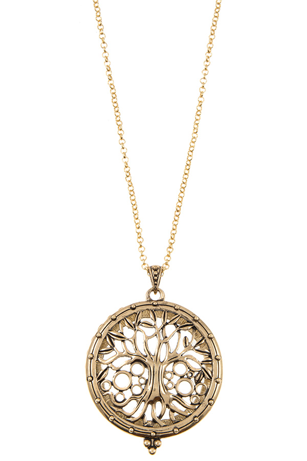 TREE OF LIFE CUT OUT MAGNIFY PENDANT NECKLACE