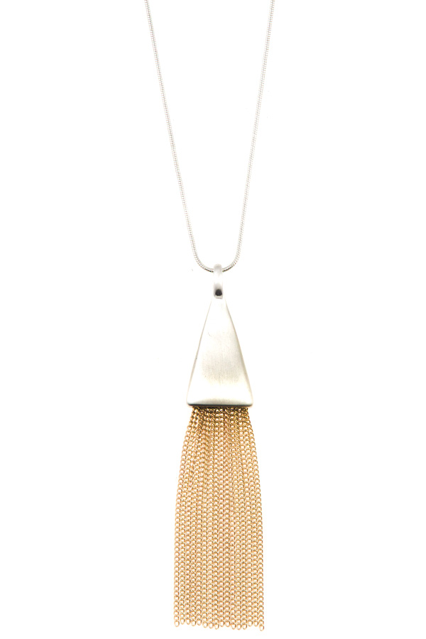 CHAIN TASSEL PENDANT ADJUSTABLE NECKLACE