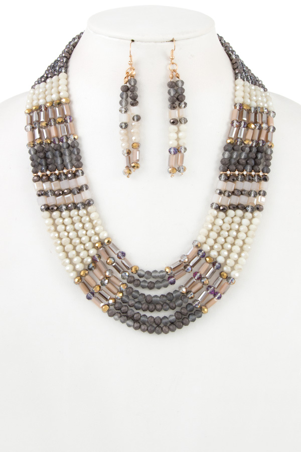 MULTI ROW GLASS BEAD NECKLACE SET