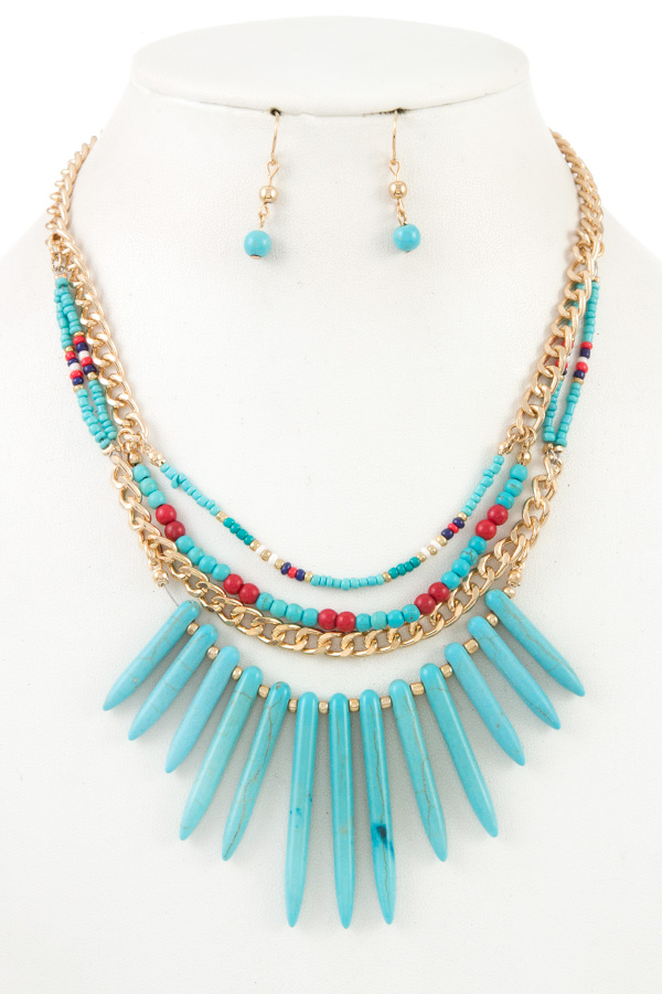 FRINGE GEM MULTI ROW BEAD NECKLACE SET