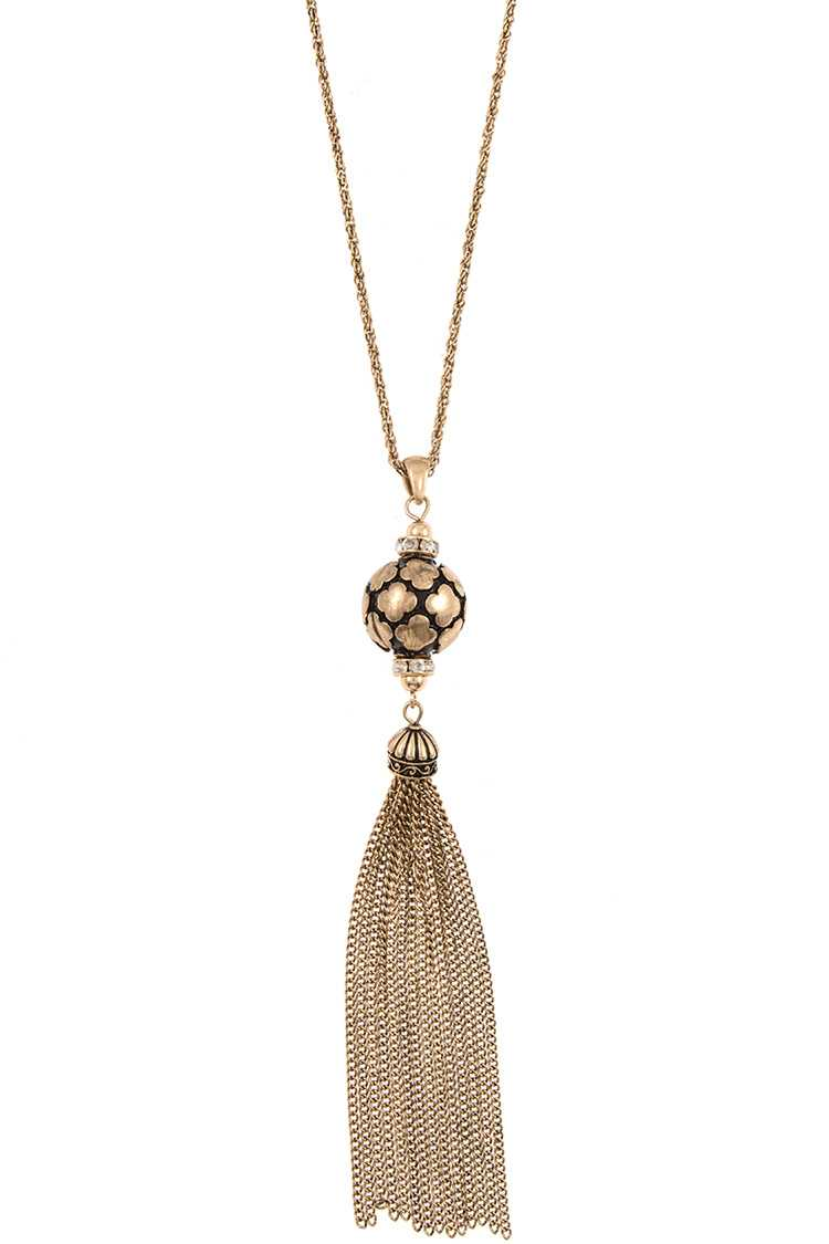 Orb Detailed Pendant with Tassel Long Necklace