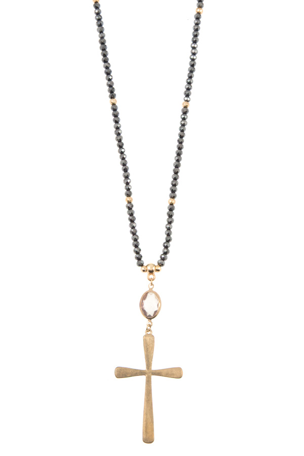 ELONGATED GLASS BEAD CROSS PENDANT NECKLACE