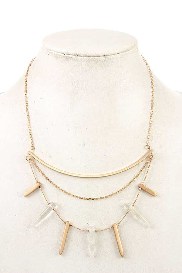 FRINGE STONE MULTI ROW NECKLACE