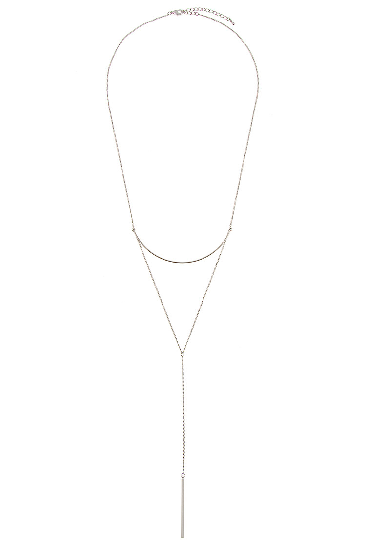 Curved Metal and Drop Bar Link Chain Pendant Necklace
