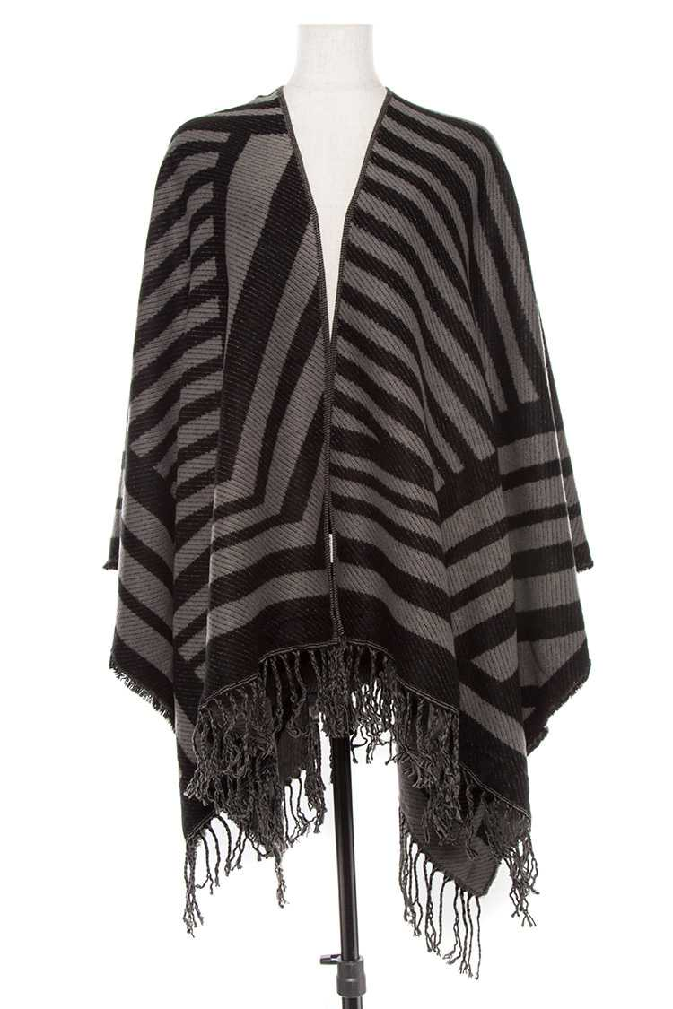 Lined Pattern Fringe End Poncho Wrap