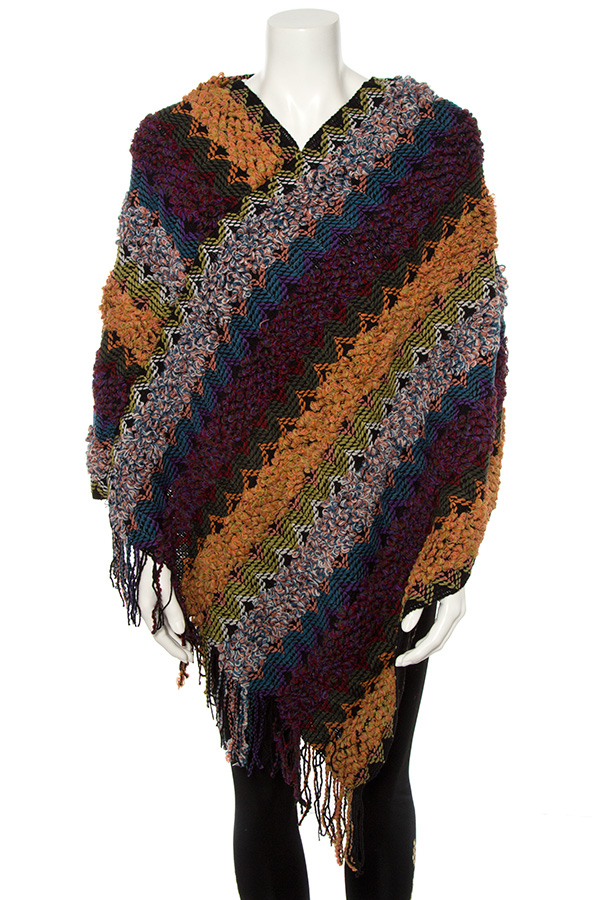 MULTI COLOR PATTERN FRINGE END PONCHO