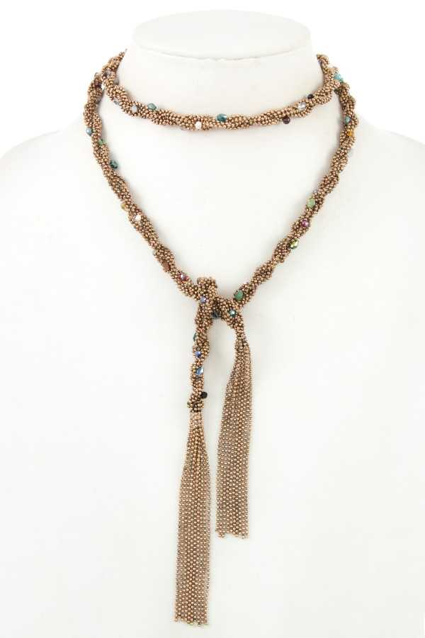 BEADED BRAID CHAIN GEM ACCENT SINGLE STRAND NECKLACE
