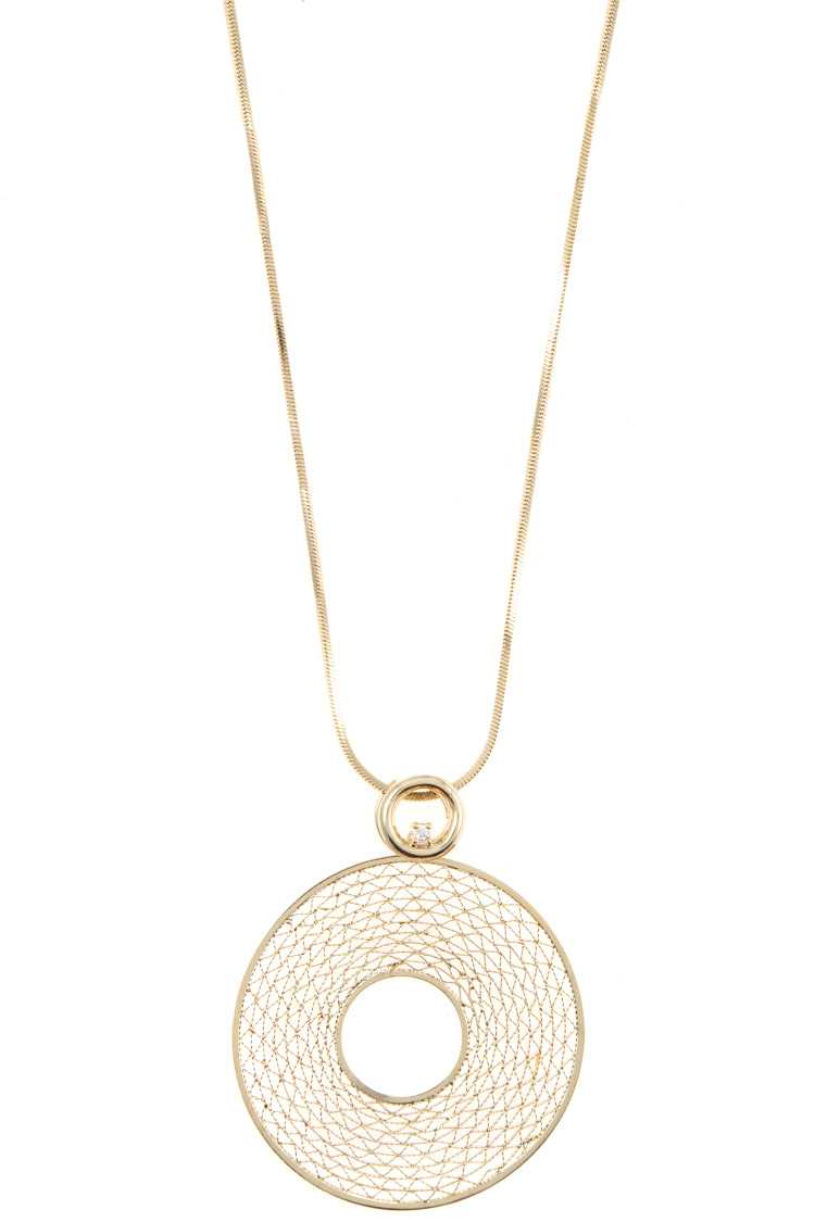 CZ Stone Round Cut Detail Pendant Necklace