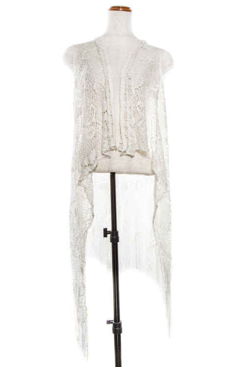 Floral Lace Detailed Open Front Fringe Vest