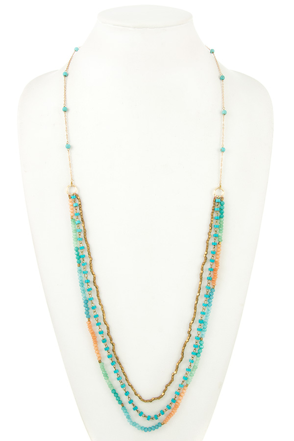 ELONGATED MIX BEAD MULTI NECKLACE STRAND