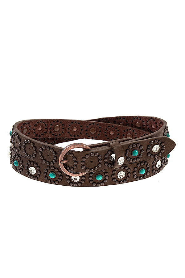 GEMSTONE AND CRYSTAL ACCENT FAUX LEATHER BELT