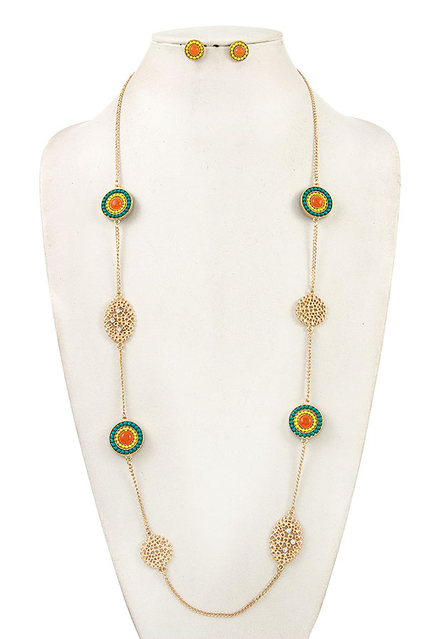 Filigree Round Beads Station Long Necklace Set