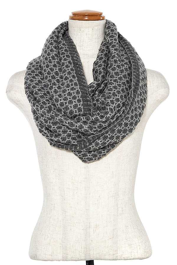 TWO TONE KNIT INFINITY SCARF