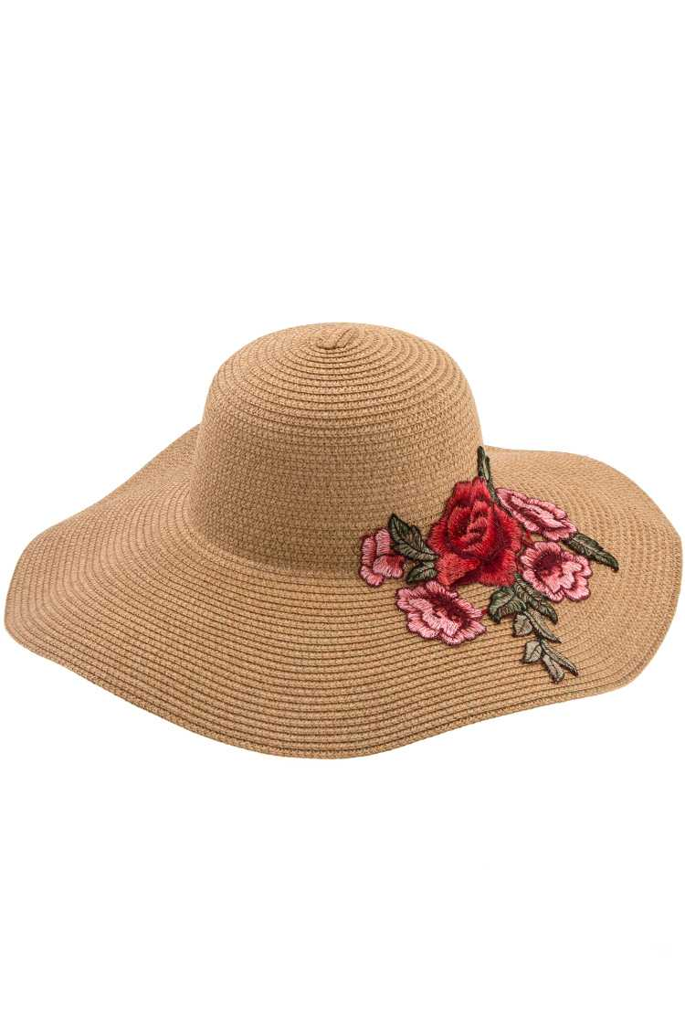 Pink Embroidered Flower Straw Sunhat