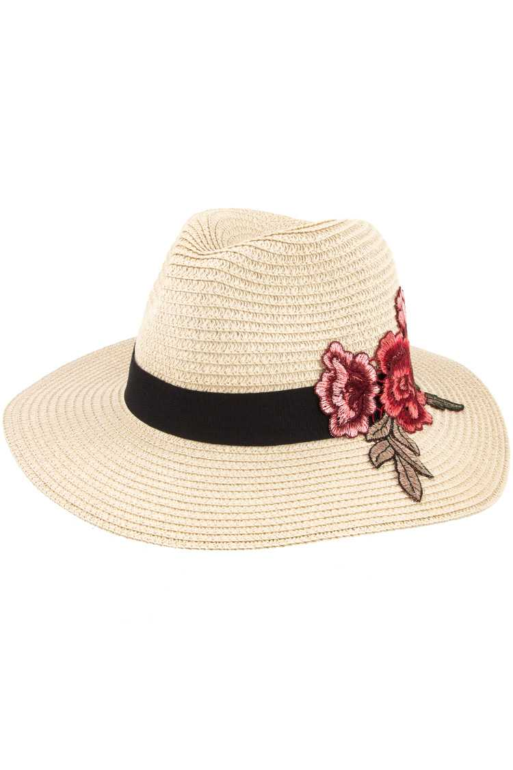 1fc329ef4 Pink Embroidered Flower Black Band Accent Fedora Hat